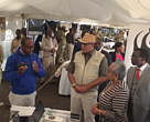 Dr. Yussuf Wato - Species Manager, WWF-Kenya explains our work with rangers in Kenya to Margaret Kenyatta - First Lady Kenya and Najib Balala - Tourism and Wildlife Cabinet Secretary.